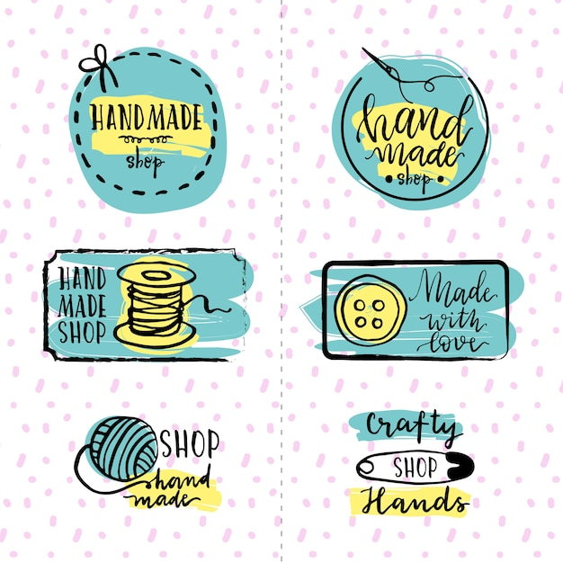 Set of hand-drawn sewing stickers Free Vector