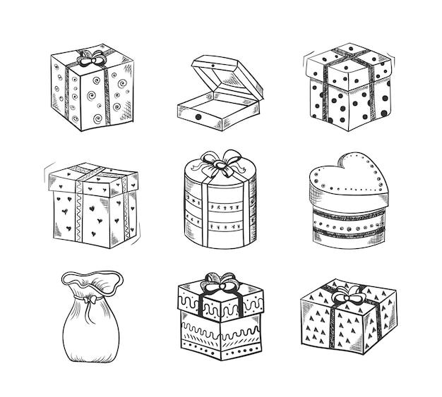 弓、リボン、ビーズで飾られたギフトボックスの手描きのスケッチのセット。新年、クリスマス、誕生日のグリーティングカードをデザインするギフトボックスのヒープを落書き。ベクトルイラスト、eps 10。 Premiumベクター