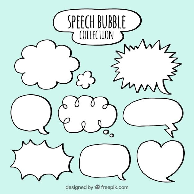 Set of hand drawn speech bubbles Free Vector