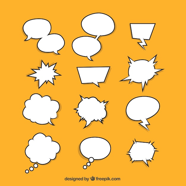 Set of hand drawn speech bubbles