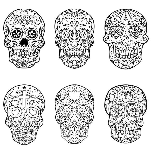 손으로 그린 설탕 두개골의 집합입니다. 죽음의 날. 디아 드 로스 무 에르 토. 삽화 프리미엄 벡터