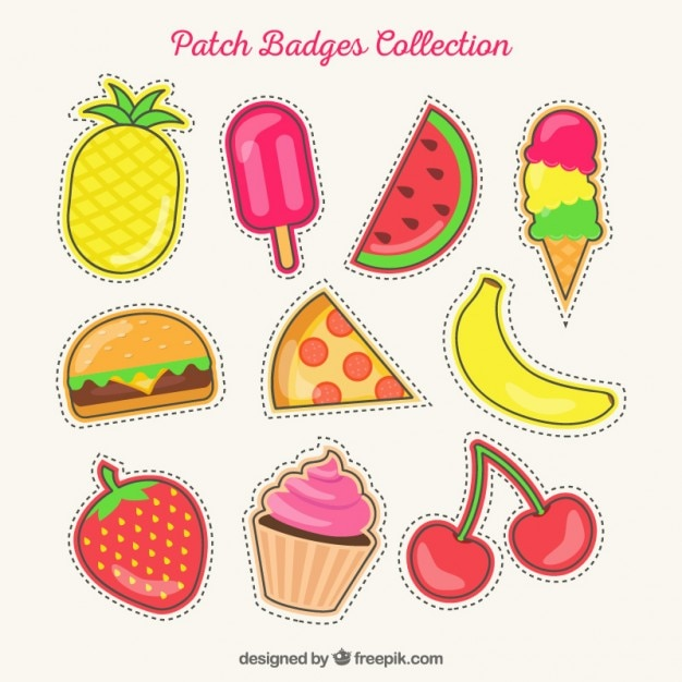 Set of hand drawn summer patches Free Vector