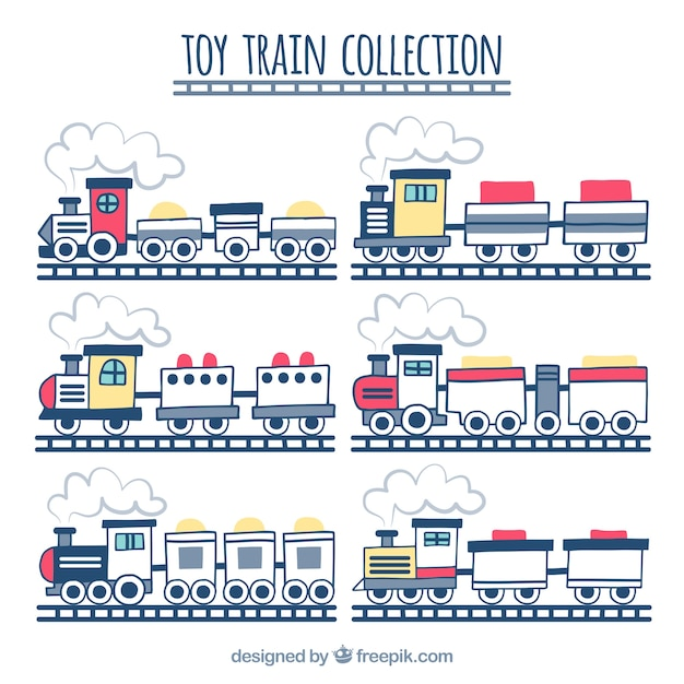 Set of hand-drawn toy trains