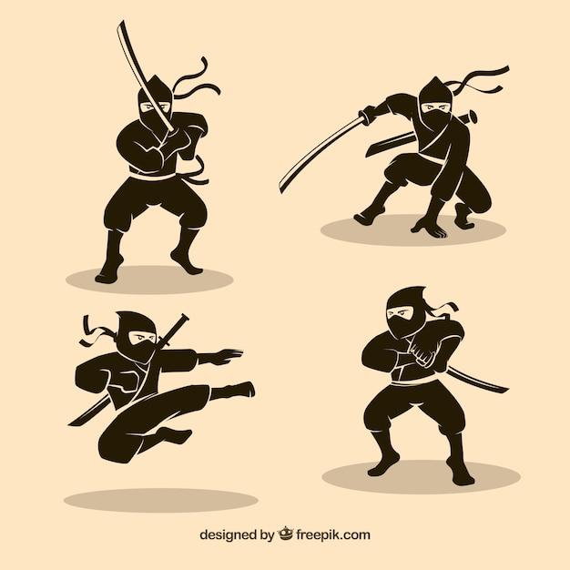 Set of hand drawn traditional ninja\ character