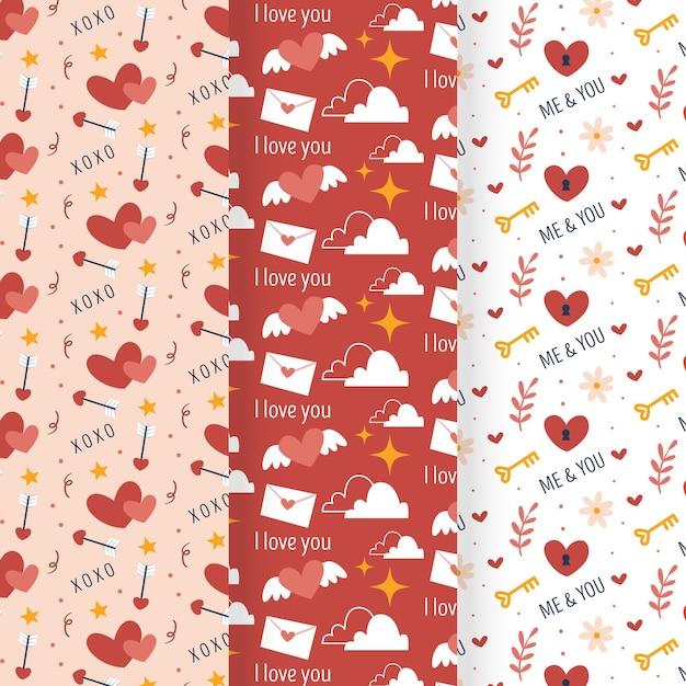 손으로 그린 발렌타인 패턴의 집합 무료 벡터