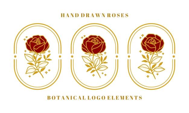 여성 브랜드 또는 뷰티 로고에 대한 손으로 그린 빈티지 골드 식물 장미 꽃 요소 집합 프리미엄 벡터