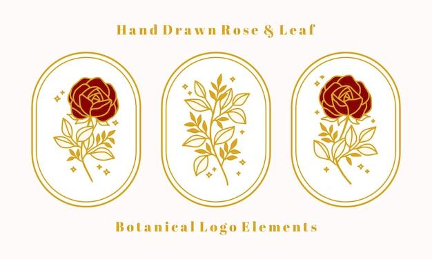 女性のロゴや美容ブランドの手描きヴィンテージゴールド植物バラの花要素のセット Premiumベクター