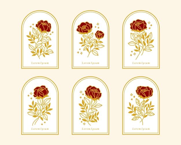 여성 로고 또는 뷰티 브랜드에 대한 손으로 그린 빈티지 골드 식물 장미 꽃 요소 집합 프리미엄 벡터