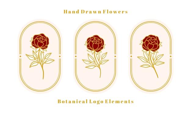 여성 로고 및 뷰티 브랜드에 대한 손으로 그린 빈티지 골드 식물 장미 꽃, 모란 및 잎 지점 요소 집합 프리미엄 벡터