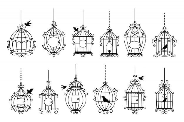 Набор рисованной свадебной коллекции птичья клетка Premium векторы