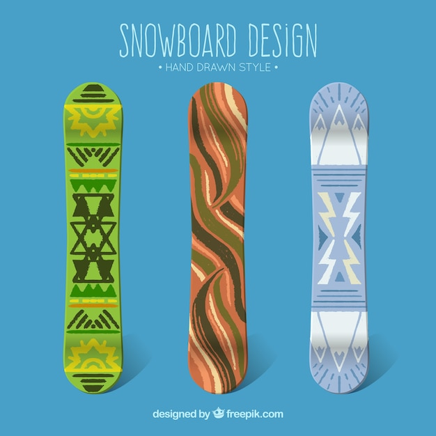 Set of hand painted snowboards in ethnic\ style