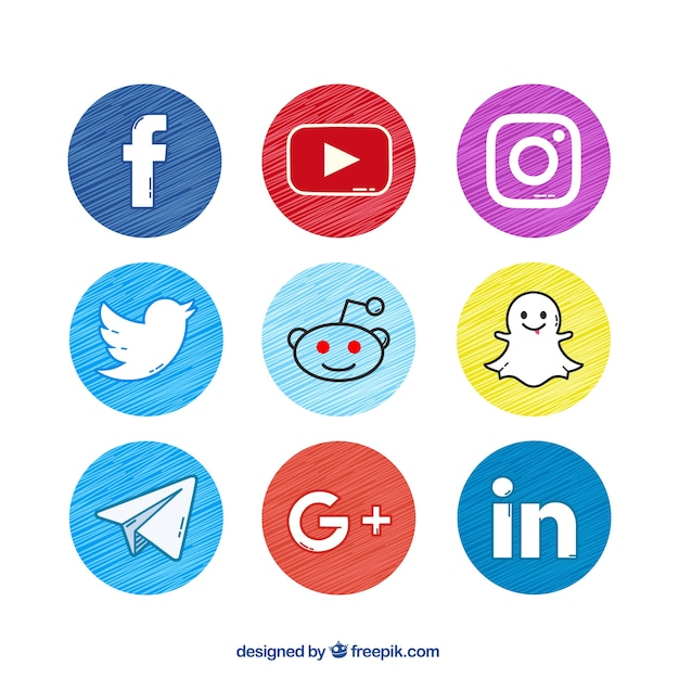 Set of hand-painted social networking buttons Free Vector