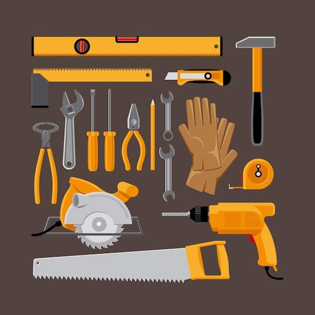フラットスタイルの手工具アイコンのセットです。ハンマーと丸鋸、ドリル、手袋。ベクトルイラスト 無料ベクター