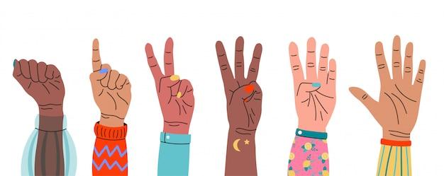 指を見せて数える手のセットです。手描き色のトレンディなイラスト。漫画のスタイルフラット色の手ジェスチャーシンボル。すべての要素は分離されています Premiumベクター