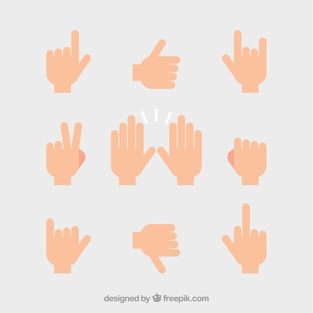 Set of hands with different signs Free Vector