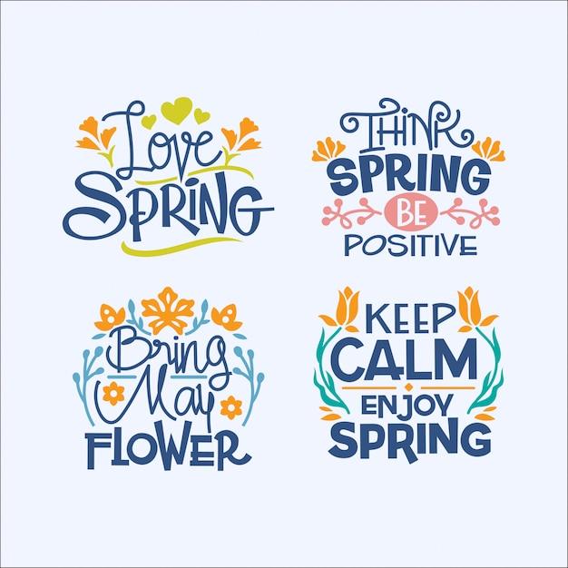 봄 시즌에 대한 필기 영감 따옴표 세트 프리미엄 벡터