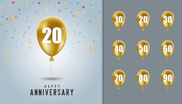 Set of happy anniversary background vector premium download