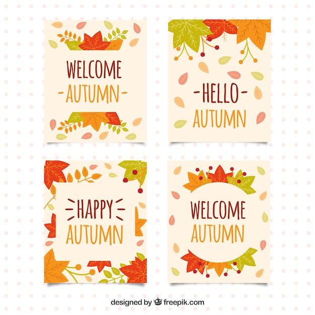 Set of happy autumn cards