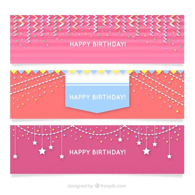 Set Of Happy Birthday Banners In Pink Tones Vector