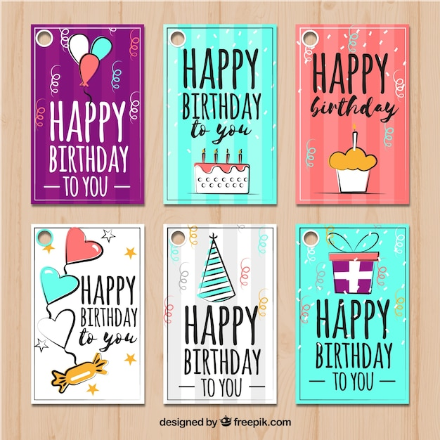 Happy Birthday Karte.Set Of Happy Birthday Cards With Drawings Stock Images Page