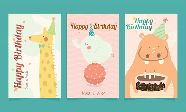 子供のためのお誕生日おめでとうかわいい動物カードのセットです。 Premiumベクター