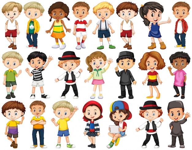 Набор счастливых детей, размахивая руками Бесплатные векторы