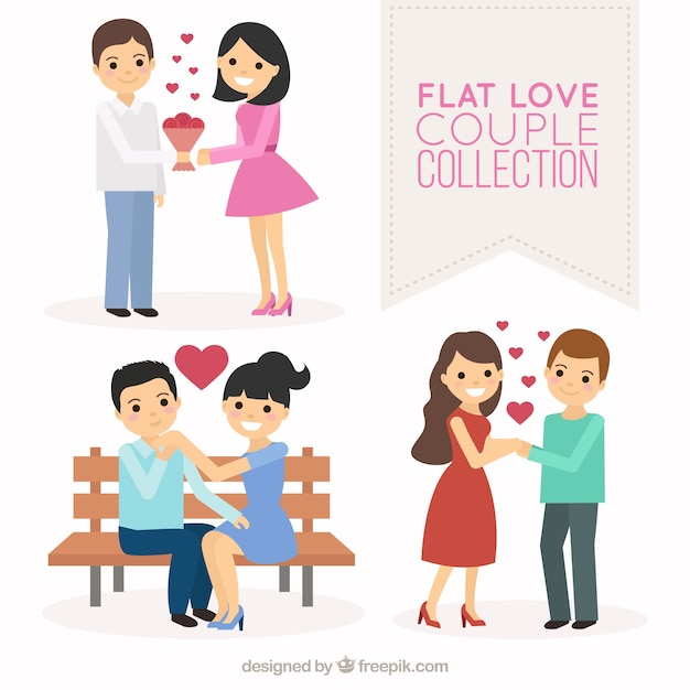 Set of happy couples in love Free Vector