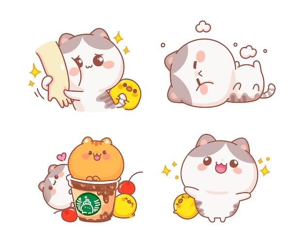 Набор счастливых милых кошек иллюстрации шаржа Бесплатные векторы