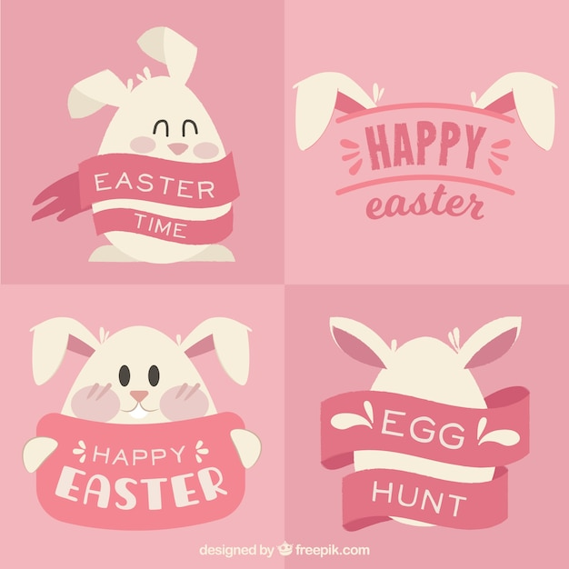 set of happy easter cards with lovely bunny vector free