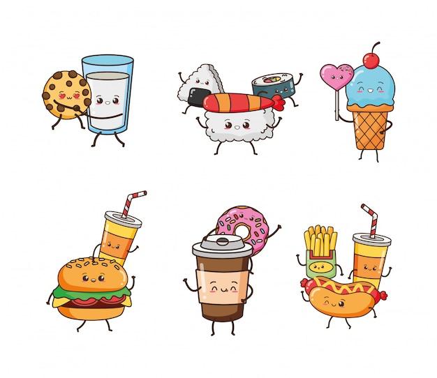 Набор счастливой еды каваий, иллюстрация Бесплатные векторы