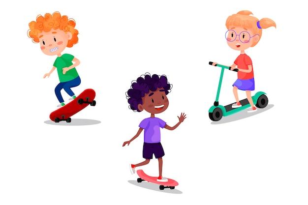 スケート、ローラー、スクーター、自転車に乗って幸せな子供たちのセット。子供のための夏休みの野外活動。白い孤立した背景のイラスト。 Premiumベクター