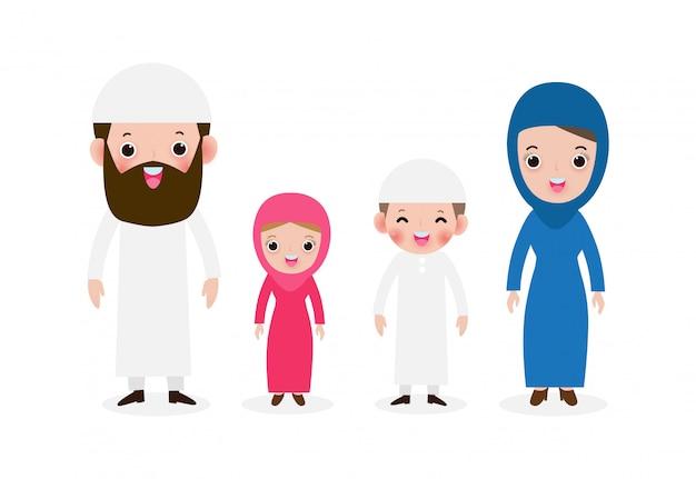 白い背景イラストを分離した民族衣装で幸せなイスラム教徒の家族、子供、母、父、息子、娘のかわいい漫画のスタイルを持つアラブのイスラム教徒の親のセット Premiumベクター