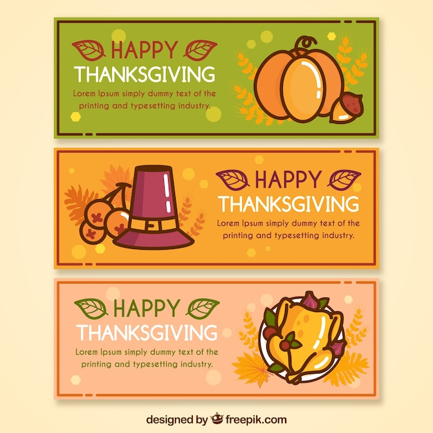 Set of happy thanksgiving day banners in linear\ style