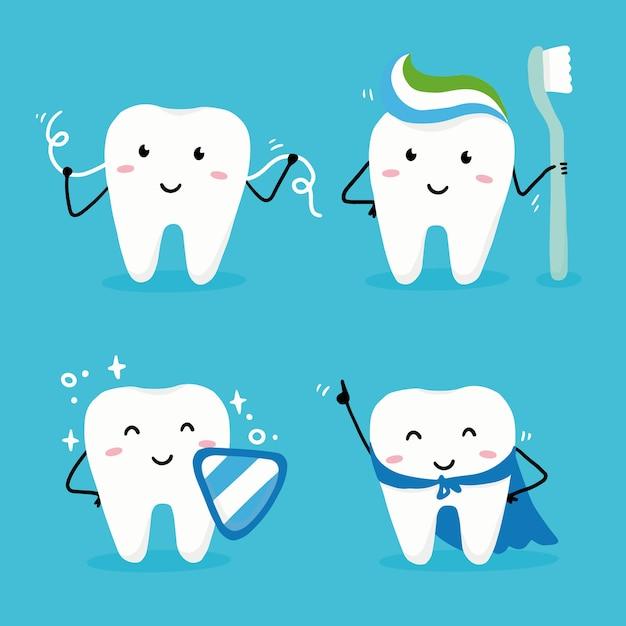 顔と幸せな歯のキャラクターのセットです。子供と子供の歯科医のデザインのための歯科カワイイスタイルのillustartion。 Premiumベクター