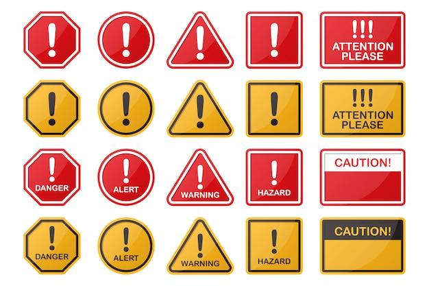 Набор опасности, опасности, предостережения, значок предупреждающий знак в разных форм и цветов Premium векторы