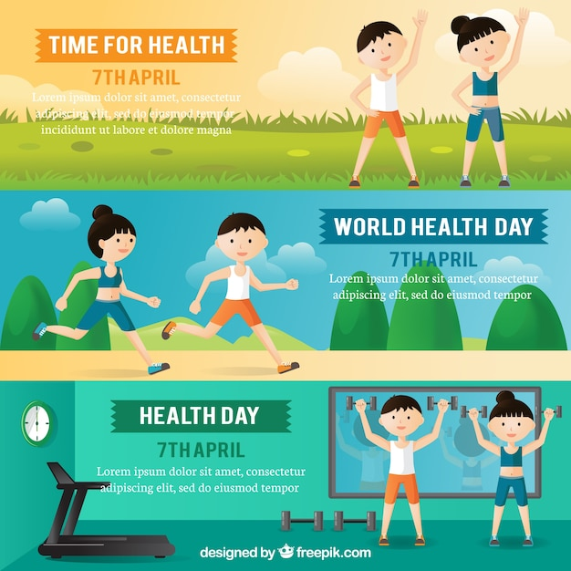 Set of health day banners with people doing\ sport
