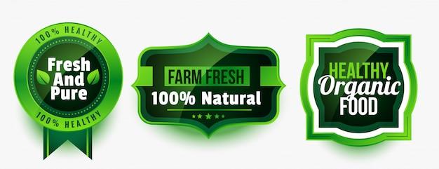 건강한 유기농 순수 식품 라벨 또는 스티커 세트 무료 벡터