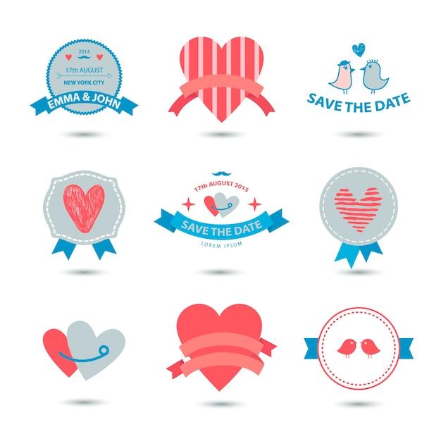 Набор сердечных баннеров, лент, значков любви, значков. винтажный набор валентинки, романтическая коллекция, свадьба Premium векторы