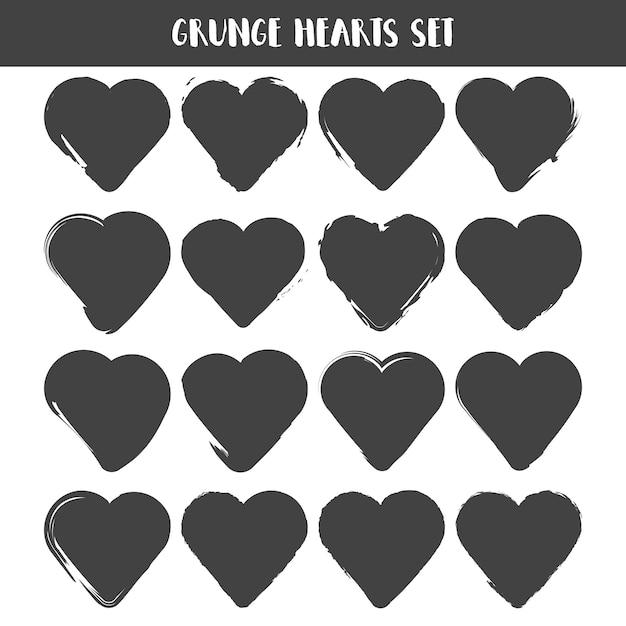 Набор сердец. коллекция марок гранж. люблю формы Premium векторы
