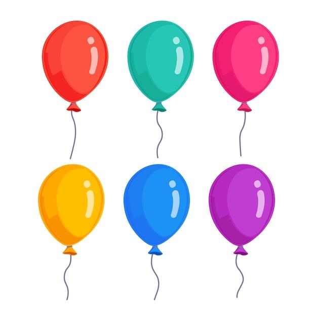 헬륨 풍선, 비행 공기 공의 집합입니다. 생일, 공휴일. 파티 장식 프리미엄 벡터