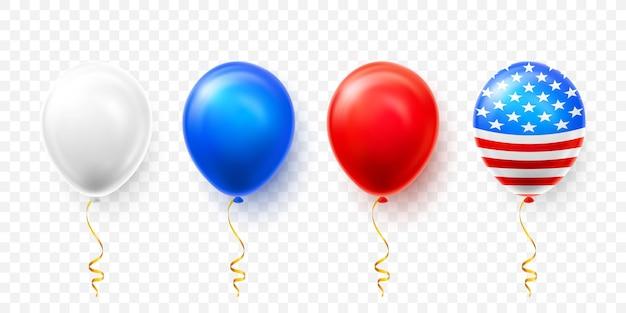 アメリカの国旗の分離とヘリウム気球のセット Premiumベクター