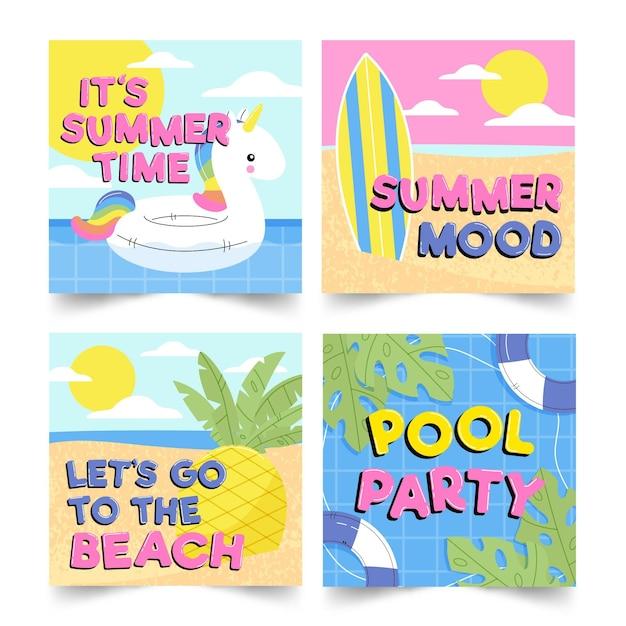 Набор привет летних сообщений instagram Бесплатные векторы