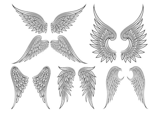 전 령 날개 또는 천사 날개 그려진 검은 선 세트. 벡터 일러스트 레이 션 무료 벡터