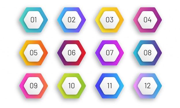 Набор шестиугольной пули. цветные градиентные маркеры с цифрами от 1 до 12. художественный дизайн. Premium векторы