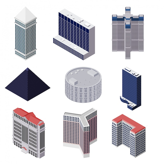 高層住宅のセット Premiumベクター