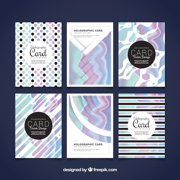 Set of holographic effect abstract cards
