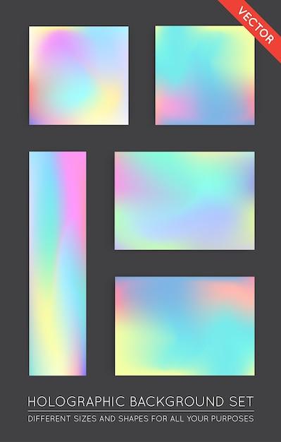 Набор голографических модных фонов. может использоваться для обложки, книги, печати, моды. Premium векторы