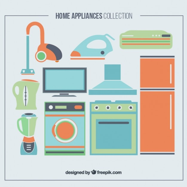 Set of home appliances in colors Premium Vector