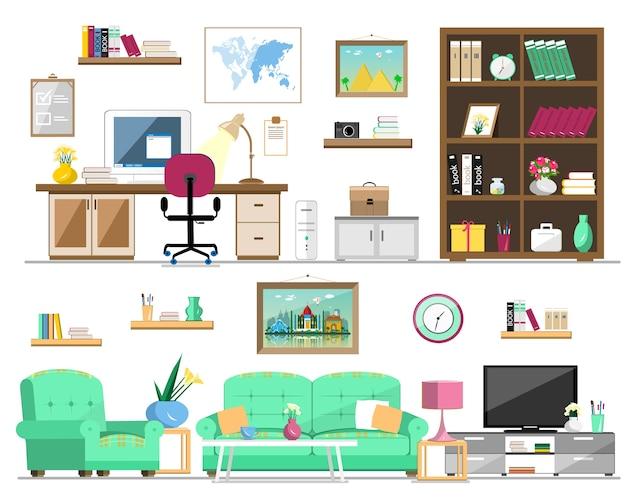 Набор домашней мебели: книжный шкаф, диван, кресло, картины, телевизор, лампа, компьютер, стол, цветы, часы, полки. интерьерная иллюстрация. Premium векторы