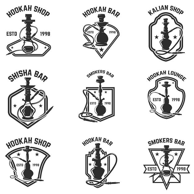 Набор эмблем кальян-бар. для логотипа, этикетки, знака, значка. иллюстрация Premium векторы